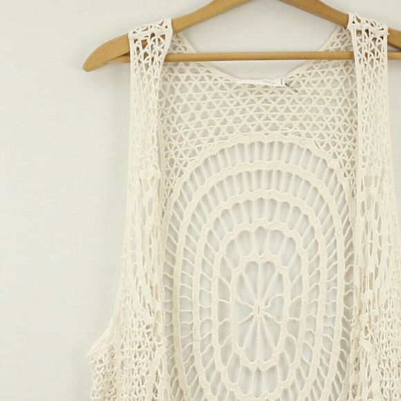 Love Tree Tops Happens Long Crochet Fringe Vest Sz M Poshmark